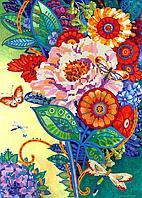 Схема для вышивки бисером Бабочки в цветах, размер 25х35 см