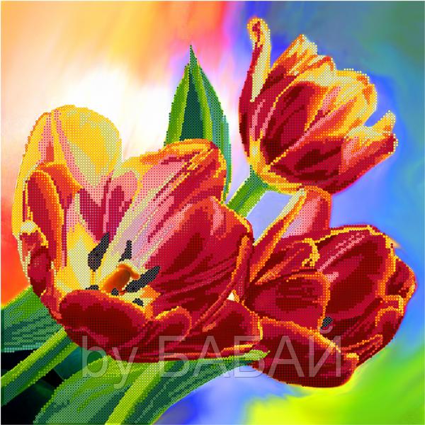 Схема для вышивки бисером Тюльпаны, размер 35х35 см