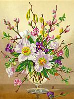 Схема для вышивки бисером Весенние цветы, размер 30х40 см