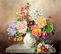 Схема для вышивки бисером Весенний букет, размер 45х40 см