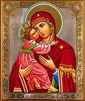 Схема для вышивки бисером Божья матерь Владимирская, размер 35х26 см