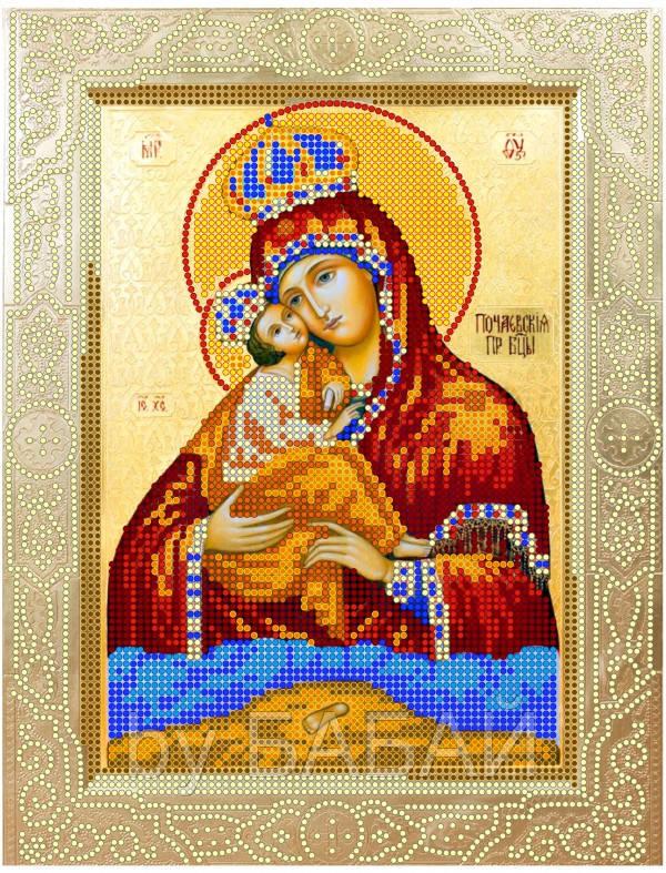 Схема для вышивки бисером Божья матерь Почаевская, размер 20х26 см