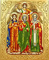 Схема для вышивки бисером Икона Святая троица, размер 23х28 см