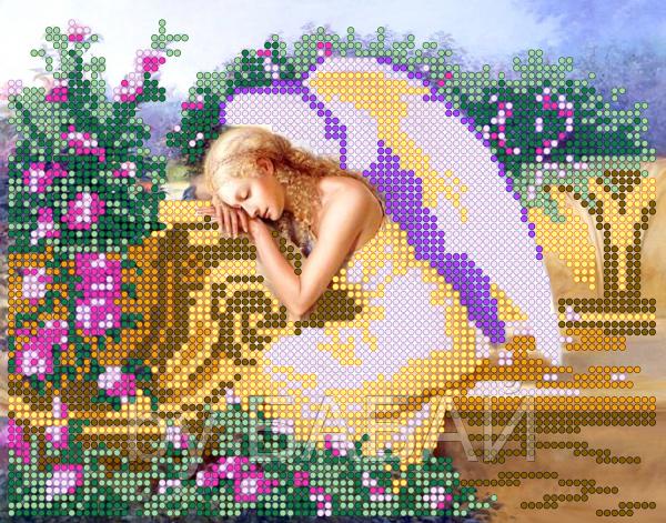 Схема для вышивки бисером Ангел в розах, размер 19х15 см