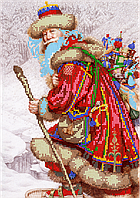 Схема для вышивки бисером Дедушка-мороз, размер 21х30 см