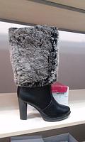 Зимние женские черные сапоги очень интересные!36р мех