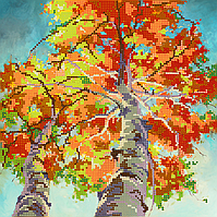 Схема для вышивки бисером Осенние березы, размер 25х25 см