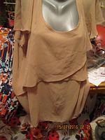 Блуза блузка кофточка легкая нарядная 22-24 56-58 3XL бежевая