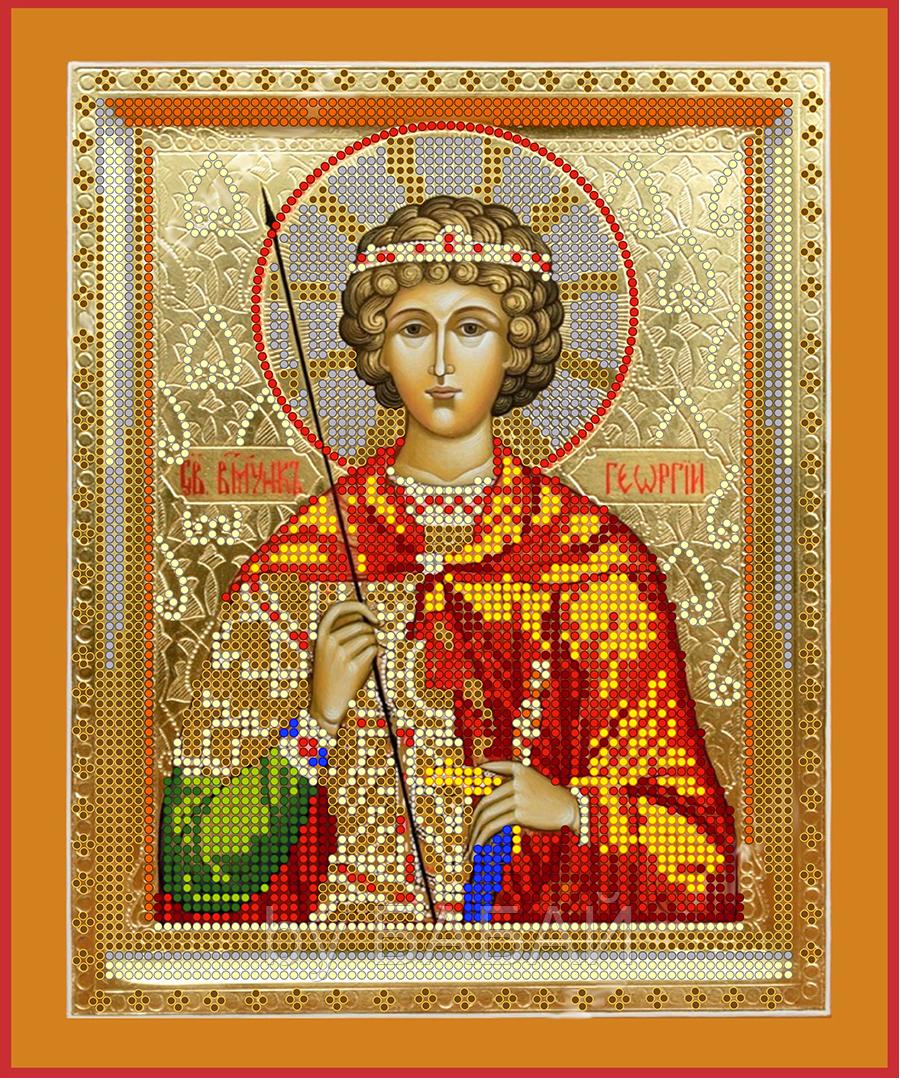 Схема для вышивки бисером Св. Георгий Победоносец, размер 20х24 см