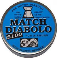 Пули пневматические Diabolo Match S 100 0,535г, 4.5 мм JSB. Пули JSB Exact S100 0.535-4.5 500 шт/уп