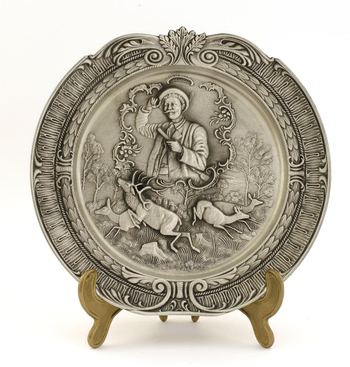 Коллекционная оловянная тарелка, Германия, Веселый охотник