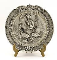 Коллекционная оловянная тарелка, Германия, Веселый охотник, фото 1