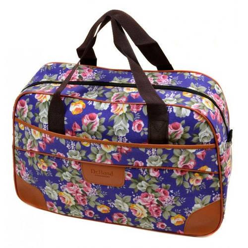 Удивительная женская сумка для поездок 24L, полиэстер dr.Bond 6601-1 blue-1 голубой/цветы