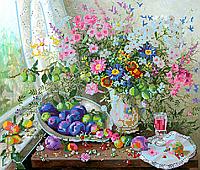 Схема для вышивки бисером Полевые цветы, размер 41х31 см
