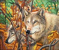 Схема для вышивки бисером Волки, размер 26х22 см
