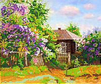 Схема для вышивки бисером Деревенский домик, размер 24х20 см