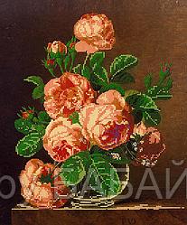Схема для вышивки бисером Розы в вазе, размер 30х36 см