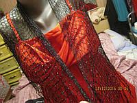 Платок шаль шарф косынка черная с СЕРЕБРЯНЫМ блеском шикарная новая ЧЕХИЯ