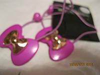 Резинки новые 2шт детские заколки бантик фиолетовый с золотом