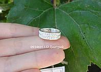 Серебряное кольцо с россыпью фианитов