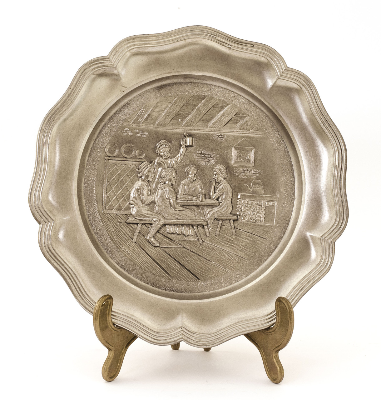 Настенная оловянная тарелка, олово, Германия, 22 см