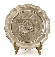Настенная оловянная тарелка, олово, Германия, 22 см, фото 1