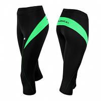 Спортивные штаны женские Radical Flexy 3/4 (Польша), термошорты черные с зеленым