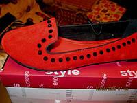 туфли балетки женские мокасины 38.5р ярко красная замша шикарная модель