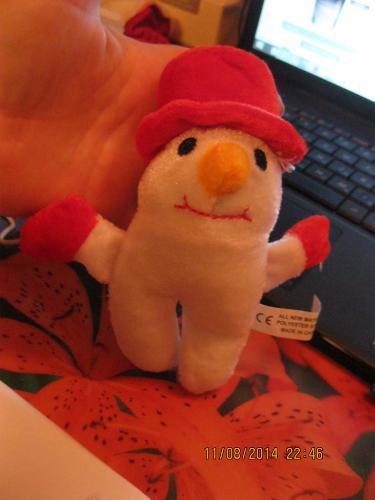 Игрушка мягкая снеговик фирменная Британия б у сувенир новый год