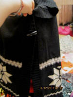 Кофта пончо свитер накидка с капюшоном снег снежинки черное ATMOSPHERE