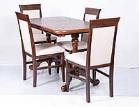 Стол деревянный обеденный  Дуэт 140(+50)х85 (орех светлый)