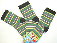 Детские высокие носки в цветную полоску темно-серого цвета