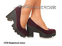 Женские замшевые туфли молодежные на каблуке 7 см бордо (размеры 36-41)