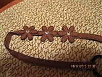 Повязка обруч цветы коричневая с цветами