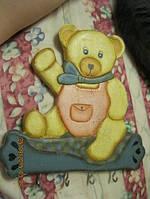 Вешалка детская старая декор ДЕРЕВО медведь из БРИТАНИИ ДЕТСКАЯ