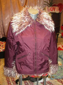 Куртка воротник- мех фиолетовая или с вишневым 16 50 L фирменная