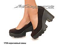Женские замшевые коричневые туфли молодежные на каблуке 7 см (размеры 36-41)