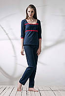 Пижама женская синяя в горошек 046/001