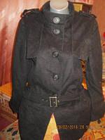 Пальто женское черное 48 14 M фирма oasis демисезонное шерстяное стильное