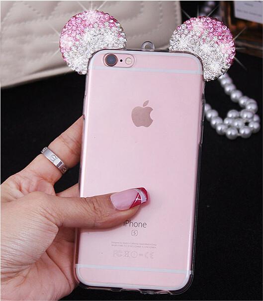 Чехол силиконовый 3D Mickey Mouse Case Pink для iPhone 5/5s