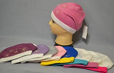 """Вязаная шапка с контрастным отворотом  """"Софи"""""""
