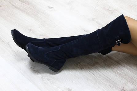 Зимние  замшевые сапоги-ботфорты темно-синие