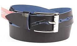 Качественный кожаный мужской ремень высокого качества темно синегоцвета MASCO 4 см Украина потертости (100031)