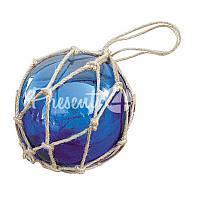 Морской сувенир стеклянный синий шар в сетке Sea Club, d-12,5 см.