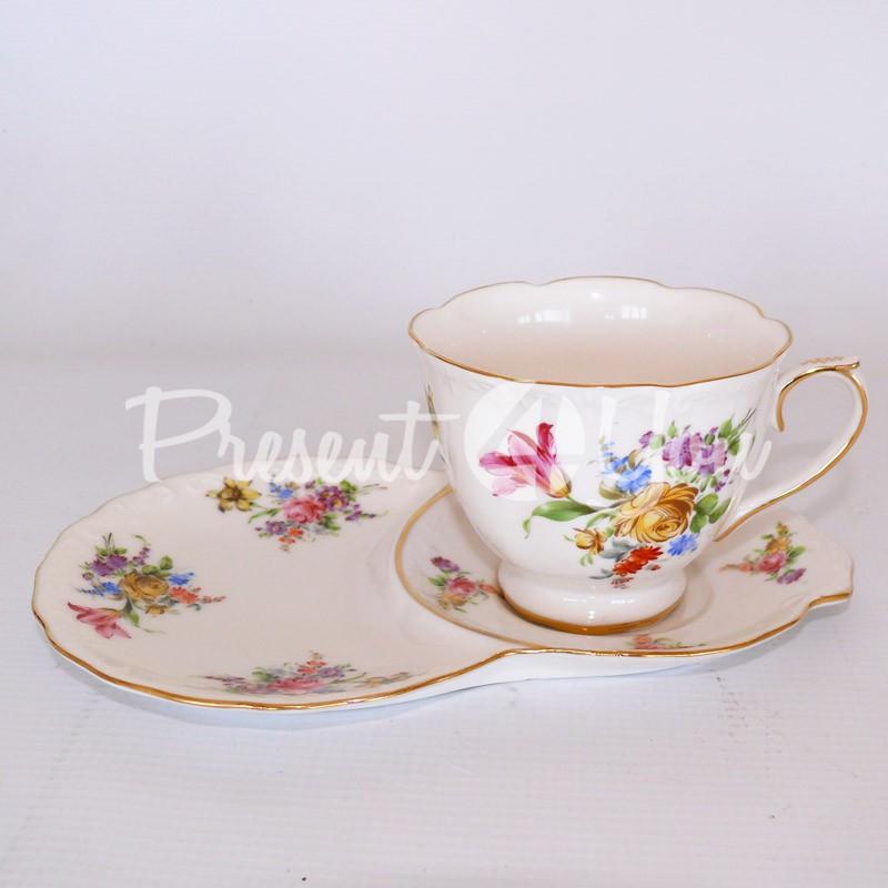 Чашка с блюдцем «Цветы», фарфор, 13х21 см., 250 мл.