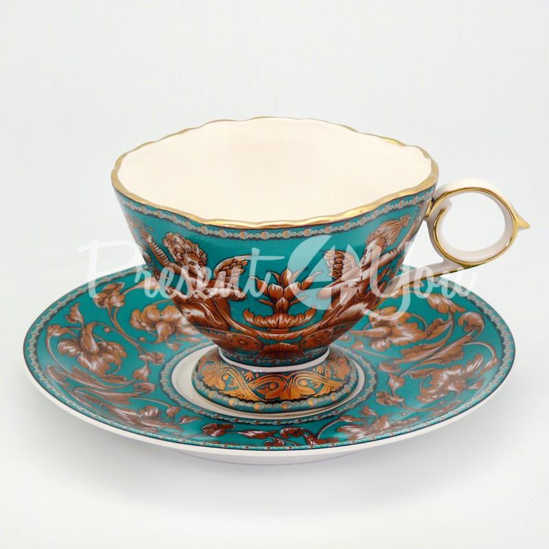 Чашка с блюдцем «Изумруд», фарфор, d-15 см., 200 мл.