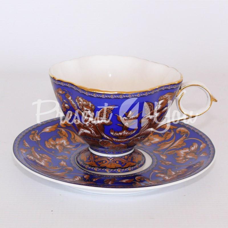 Чашка с блюдцем «Синее небо», фарфор, d-15 см., 200 мл.