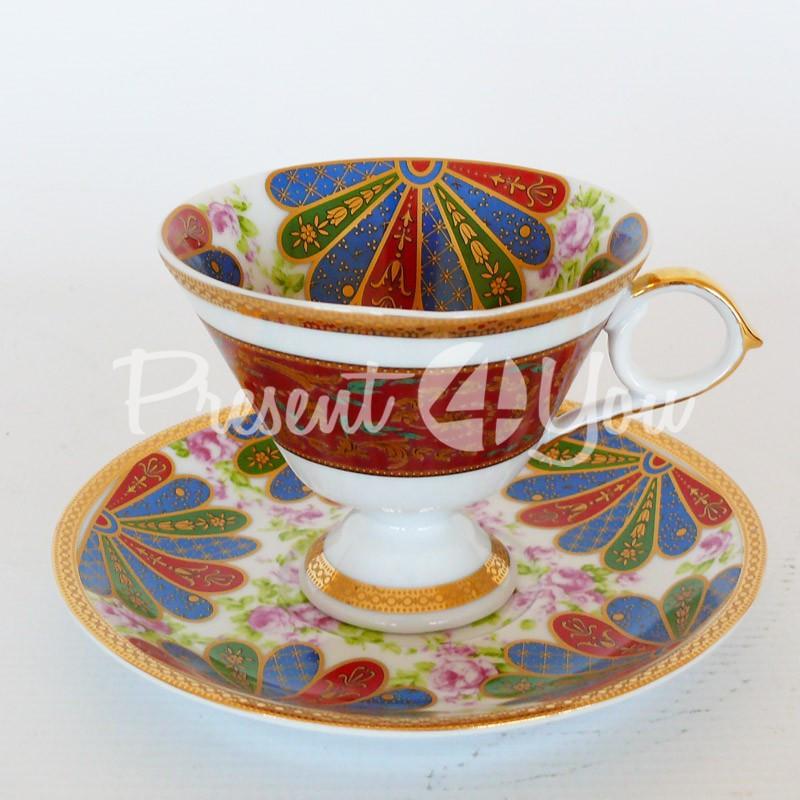 Чашка с блюдцем «Райдуга», фарфор, d-14,5 см., 150 мл.