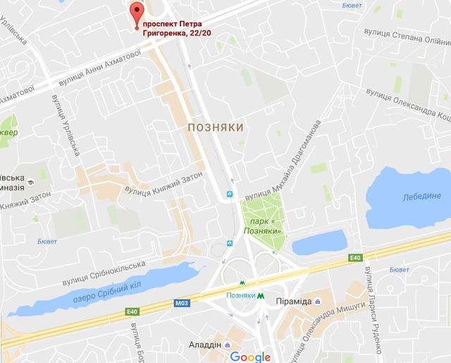 Евросити на карте Киева