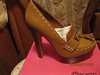 Туфли женские кофейные стильные рыжие 38.5 р , фото 1